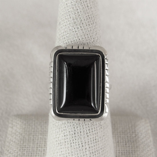 Rectangular Black Onyx and Sterling Silver Size 9.25 By Amos Begay