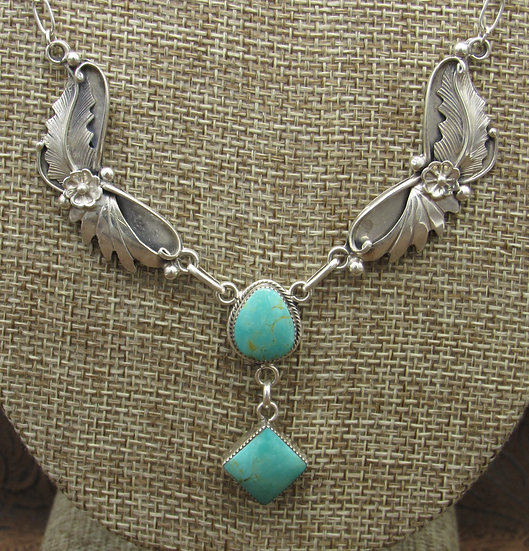 Navajo Sterling Silver Turquoise Necklace by Richard Begay