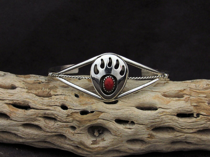 Sterling Silver Coral Shadowbox Bear Paw Cuff Bracelet