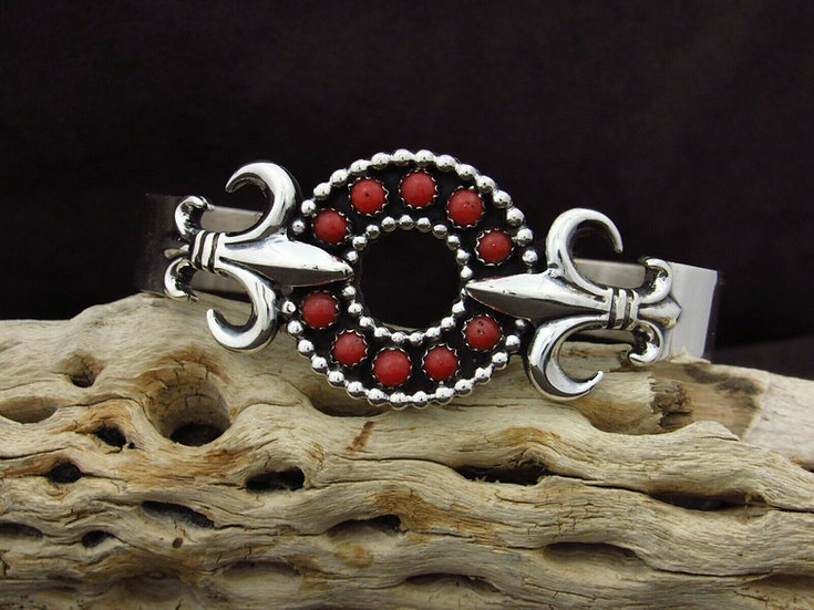 Navajo Sterling Silver Coral Cuff Bracelet By Melvin Francis