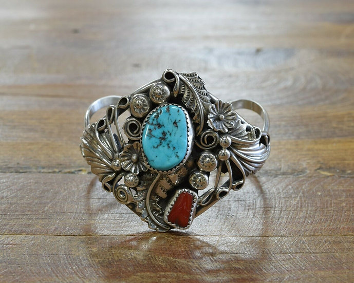Vintage Sterling Silver Turquoise and Coral Cuff Bracelet