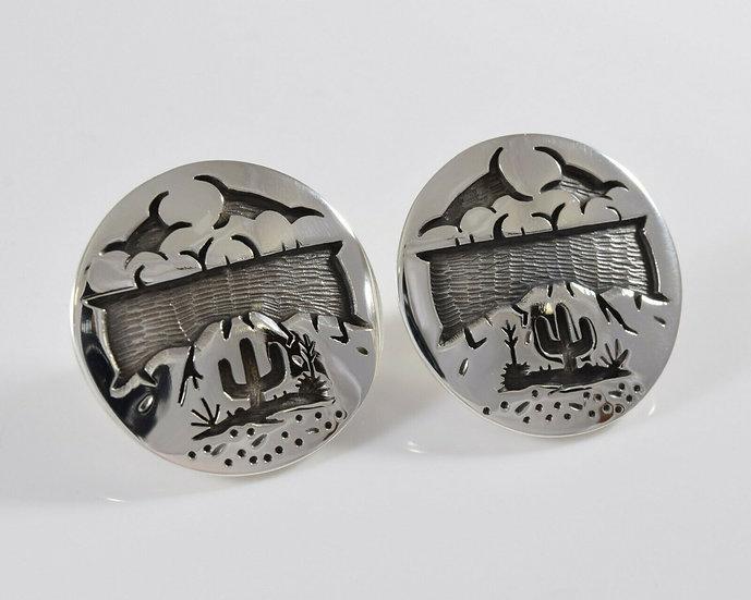 Sterling Silver Desert Scene Overlay Post Earrings by Rick Manuel