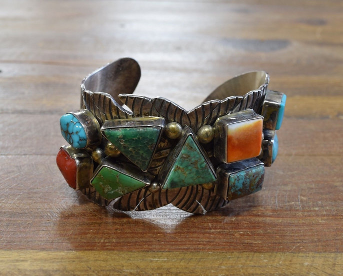 One of a Kind Vintage Sterling Silver Multi-Stone Cuff Bracelet