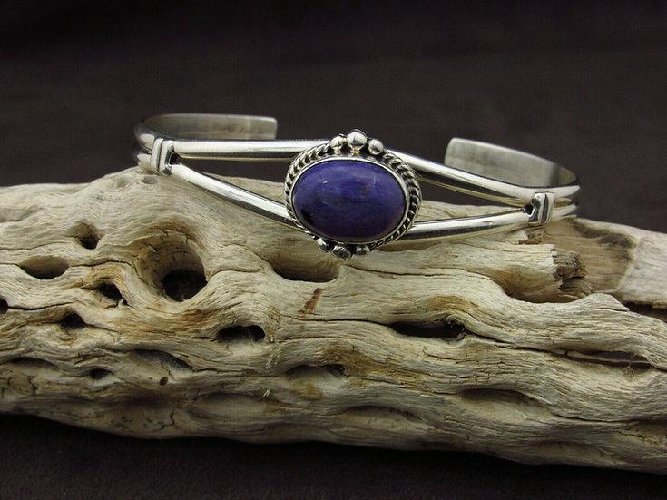 Sterling Silver Charoite Cuff Bracelet