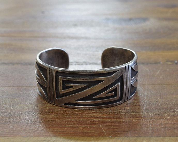 Southwestern Sterling Silver Overlay Cuff Bracelet