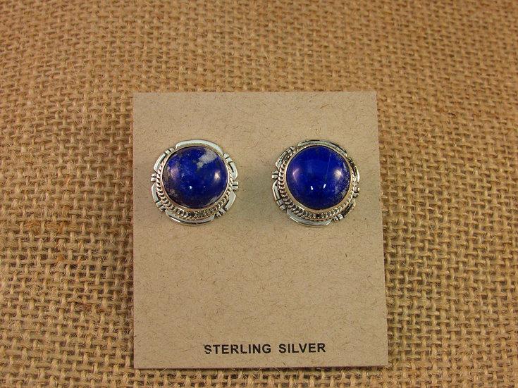 Navajo Lapis Sterling Silver Post Earrings