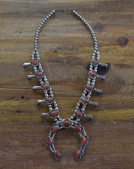 Vintage Southwestern Sterling Silver And Red Coral Squash Blossom Necklace