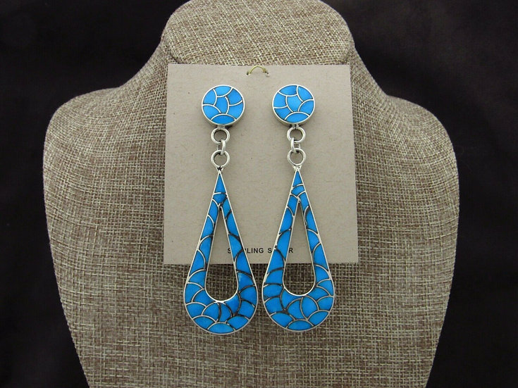 Large Zuni Sterling Silver Turquoise Fish Scale Inlay Earrings