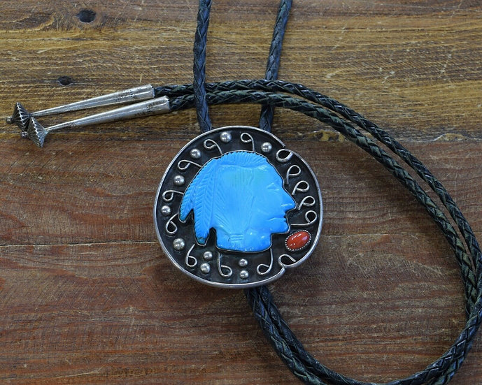 Vintage Turquoise Brave Sterling Silver Bolo Tie