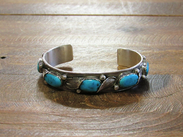 Vintage Zuni Turquoise Sterling Silver Cuff Bracelet by Carmelita Simplicio