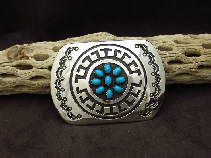 Navajo Sterling Silver Overlay Turquoise Buckle by Rosco Scott
