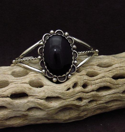 Sterling Silver Flower Onyx Cuff Bracelet