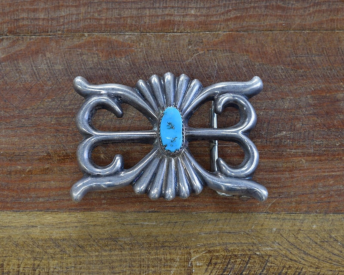 Vintage Navajo Turquoise Sandcast Sterling Silver Belt Buckle