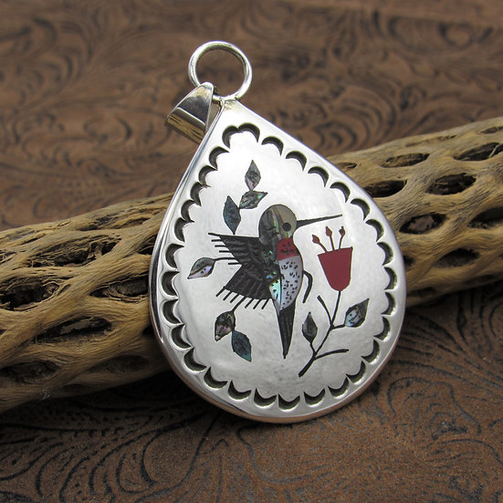 Inlay Turquoise Coral Jet Mother of Pearl Sterling Silver Pendant
