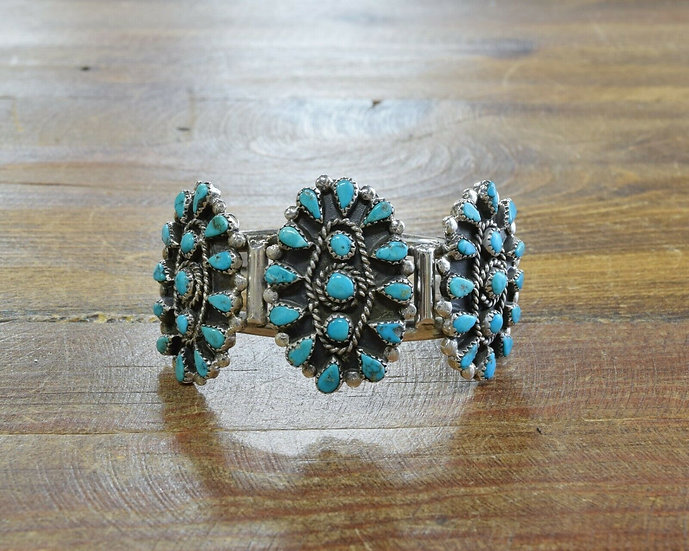 Vintage Cluster Turquoise Sterling Silver Cuff Bracelet