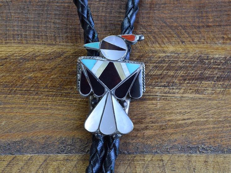 Vintage Zuni Thunderbird Inlay Sterling Silver Bolo Tie