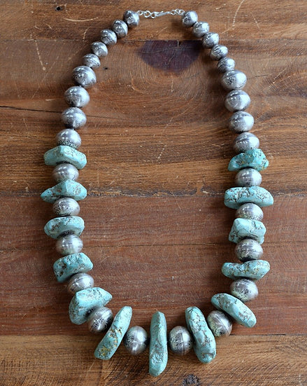 Chunky Turquoise and Silver Coin Bead Necklace