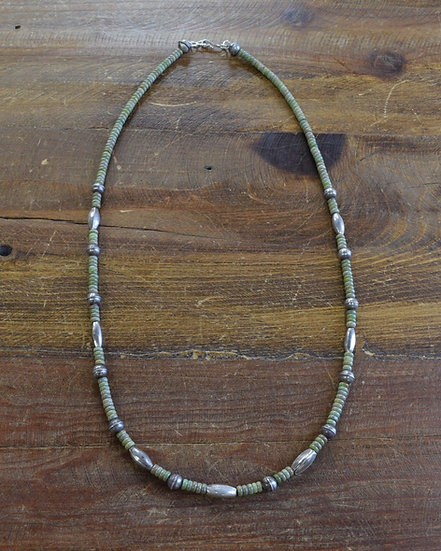 Navajo Green Turquoise and Sterling Silver Bead Necklace
