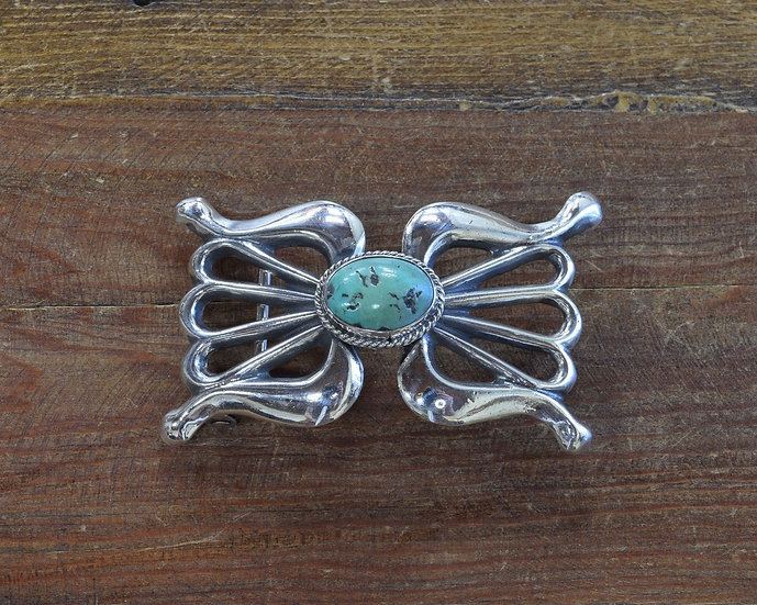 Vintage Sterling Silver and Turquoise Sandcast Belt Buckle