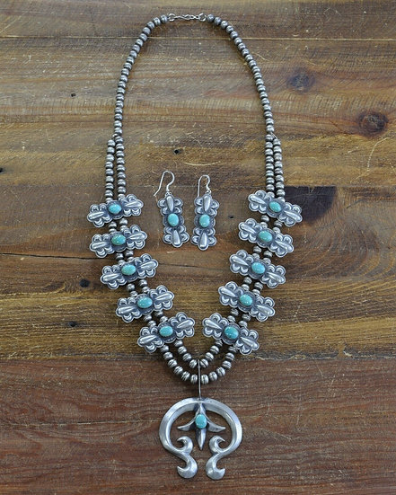 Sterling Silver and Turquoise Navajo Squash Blossom and Earrings Set
