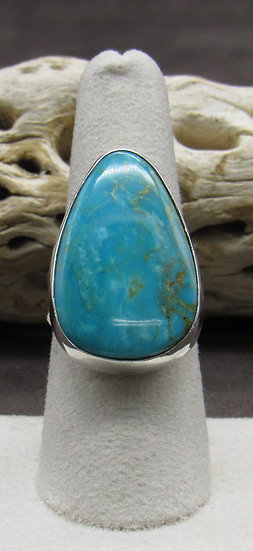 Teardrop Turquoise and Sterling Silver Ring Size 7 3/4