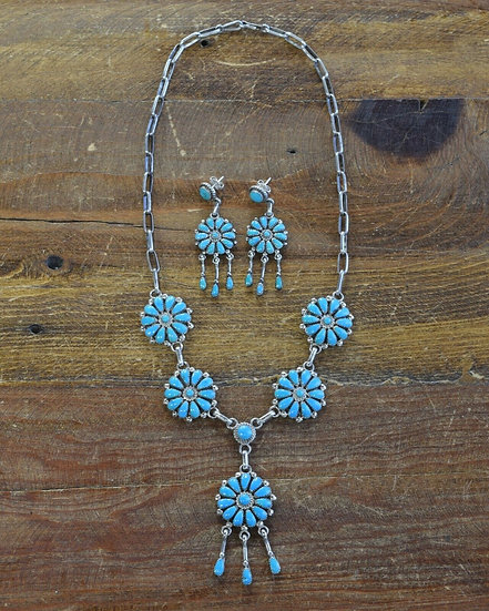 Vintage Sterling Silver Cluster Flower Necklace and Earring Set