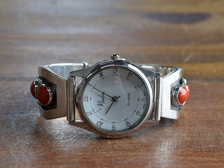Coral Sterling Silver Watch Band by Jose Campos