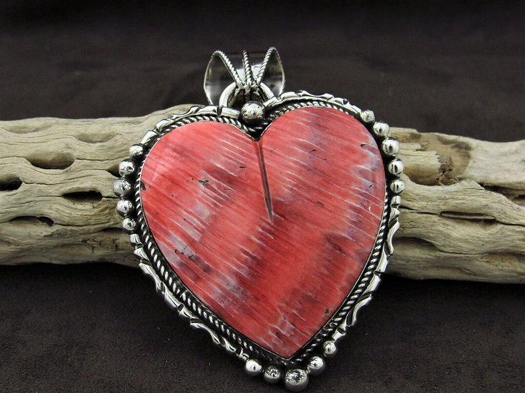 Large Spiny Oyster Sterling Silver Heart Pendant