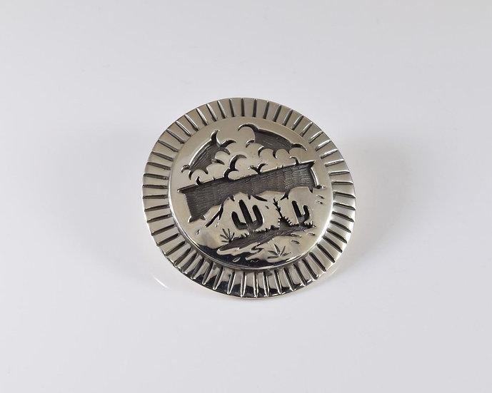 Desert Storm Scene Overlay Sterling Silver Pendant by Rick Manuel