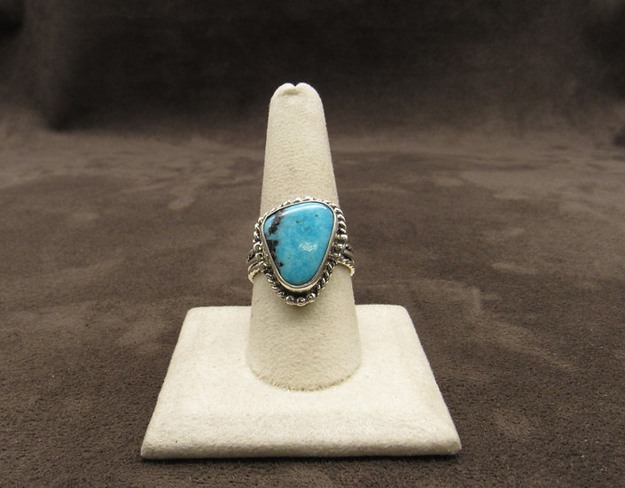 Navajo Sterling Silver and Turquoise Ring by Louise Yazzie, Size 9 1/4