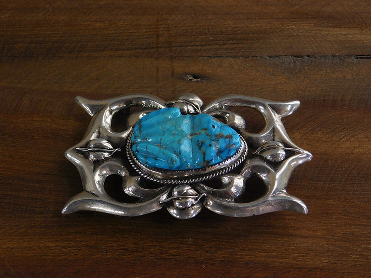 Vintage Southwest Sterling Silver and Turquoise Toad Sand Cast Belt Buckle