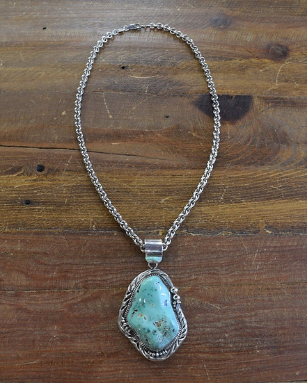 Vintage Navajo Sterling Silver and Variscite Necklace