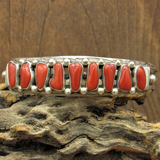 Vintage Navajo Sterling Silver and Red Coral Cuff Bracelet by Harrison Jim