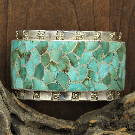 Vintage Sterling Silver Turquoise Zuni Inlay Cuff Bracelet by Carmichael Haloo