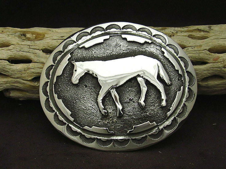 Navajo Sterling Silver Horse Buckle by Kay Begay Rodgers