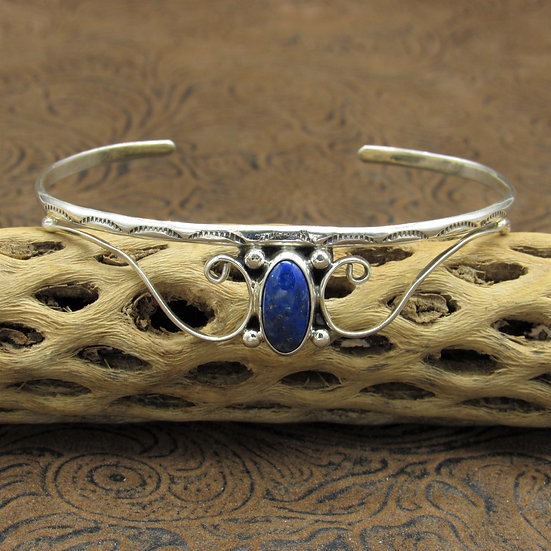 Southwestern Sterling Silver Lapis Cuff Bracelet With Curvy Silver Design