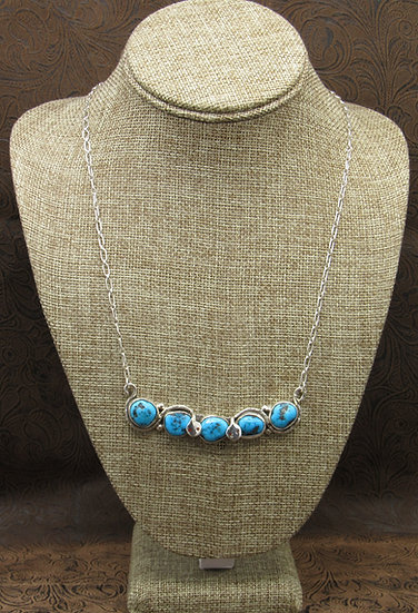 Zuni Handcrafted Sterling Silver and Turquoise necklace by Jude Candelaria