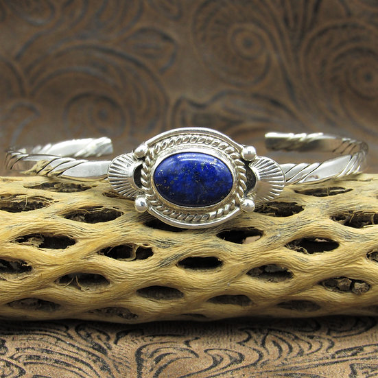 Sterling Silver Cuff Bracelet With Lapis