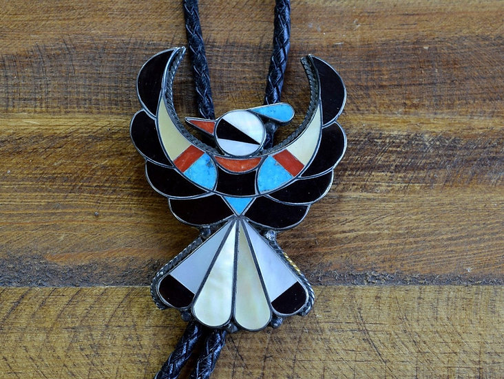 Vintage Southwest Thunderbird Inlay Sterling Silver Bolo Tie