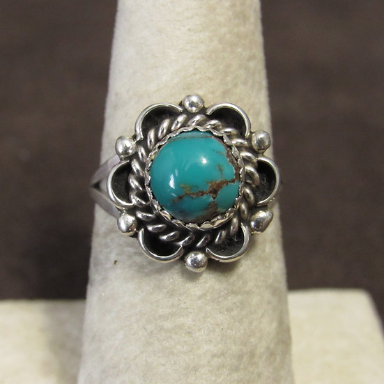 Southwest Sterling Silver and Turquoise Ladies Ring Size 6.75