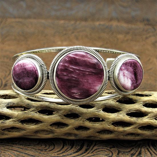 Navajo Sterling Silver Round Purple Spiny Oyster Cuff Bracelet By Wydell Billie