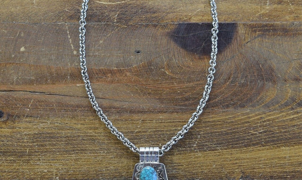 Navajo Sterling Silver and Turquoise Overlay Necklace