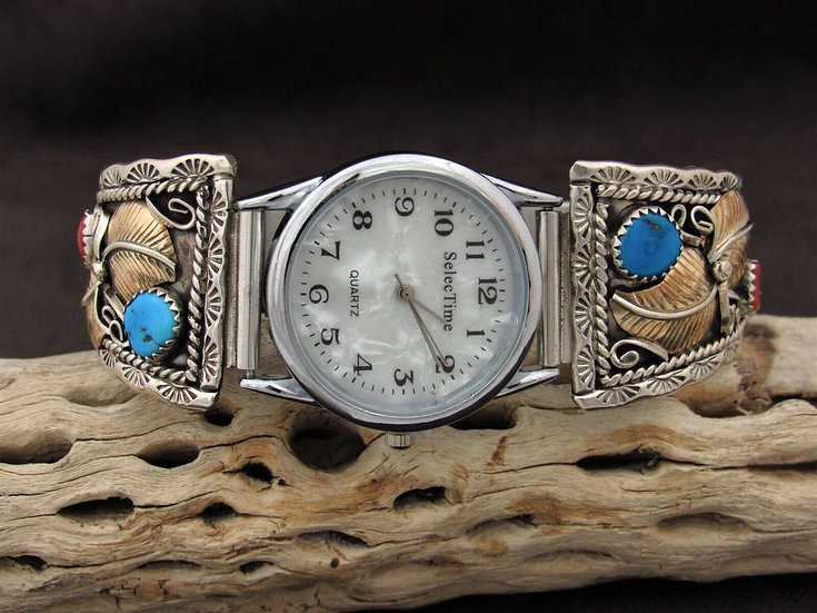 Sterling Silver and 1/20 12GF Turquoise and Coral Watch Band