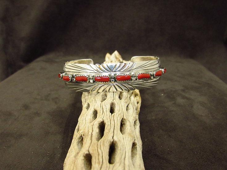 Sterling Silver Multi Stone Coral Cuff Bracelet