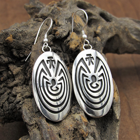 Sterling Silver Hopi Man in The Maze Signed Earrings