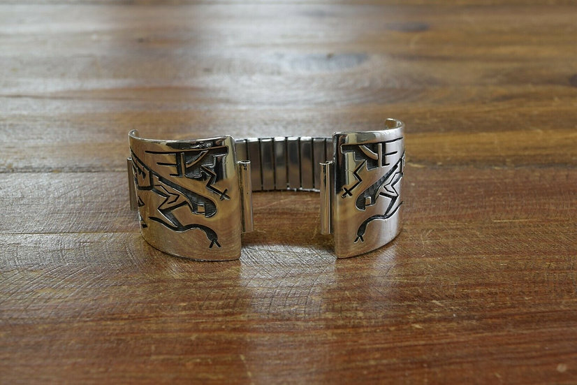 Sterling Silver Hopi Overlay Watch Band by Benjiman Mansfield