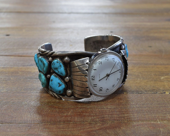 Vintage Turquoise Sterling Silver Watch Band