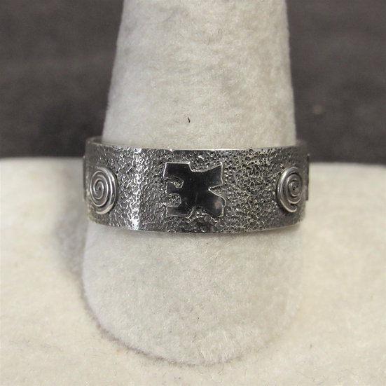 Southwest L Skeets Band Ring With Petroglyph Designs Size 12.5