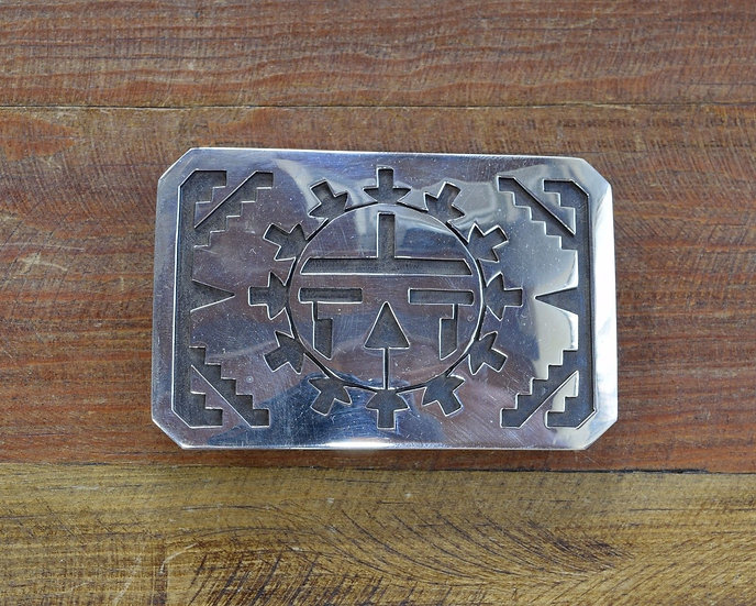 Sterling Silver Overlay Sun Kachina Belt Buckle