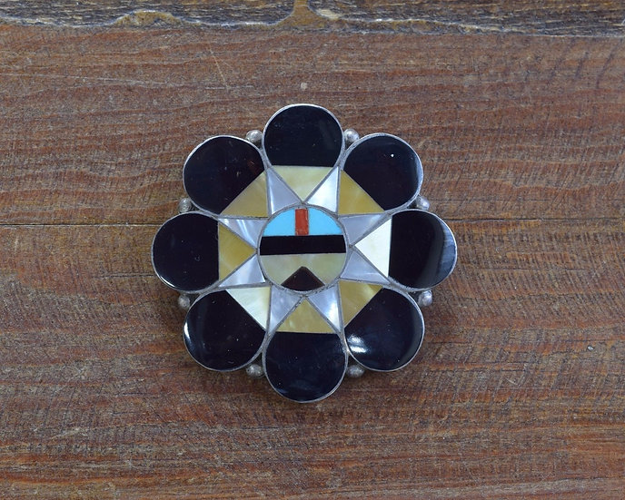 Vintage Zuni Sun Face Sterling Silver Pin/Pendant